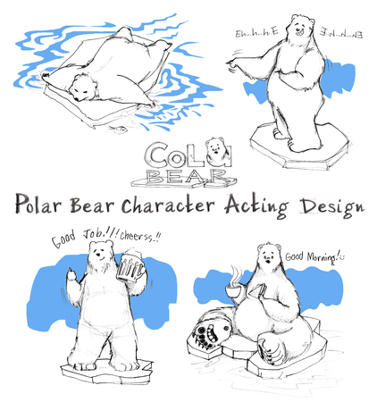 Polar Bear cute cartoon acting of character design has sleeping, laughing, pointing, invite to drink beer and Good morning breakfast, All hand drawn with word and pencil texture. Banque d'images