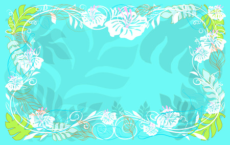Illustrative and abstract floral of Fern leave frame and patterns on sweet turquoise color.