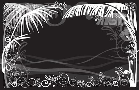 Frame background luxury graphic art Sea beach landscape of nature vector design has free space, Gray color tone. Illusztráció