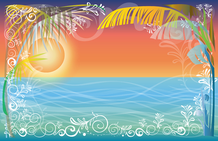 Background Frame Sunset at the Sea beach landscape of nature vector design has free space, Pastel color tone.