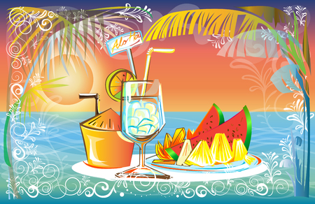 Fruit juice set in Sunset at the Sea beach landscape of nature vector design has free space, pastel color tone. Illustration