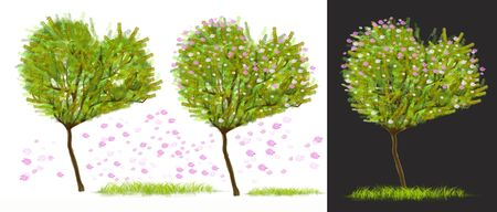 Heart shape tree 3 design has pink flower and grass technique computer graphic paint brush element design for you to create new one in your concept, Isolate on white and gray background, clipping paths.