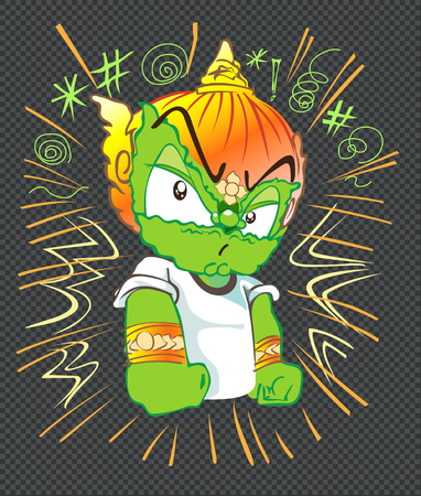 Serious acting character design of Thai giant cartoon cute green color has boom and sybol around, Hand drawn in computer graphic has clipping paths.