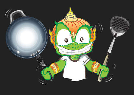 Chef showing pan and flipper in his hand Thai cartoon acting character vector design background isolate has clipping paths.