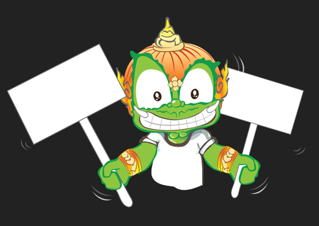 Showing sign in 2 hand Thai cartoon acting character vector design background isolate has clipping paths.