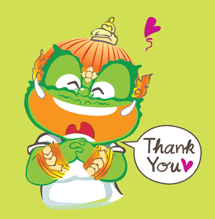 Thai giant saying thank you and smiling he very be happy, vector cartoon acting character design isolate background lemon color has clipping paths.