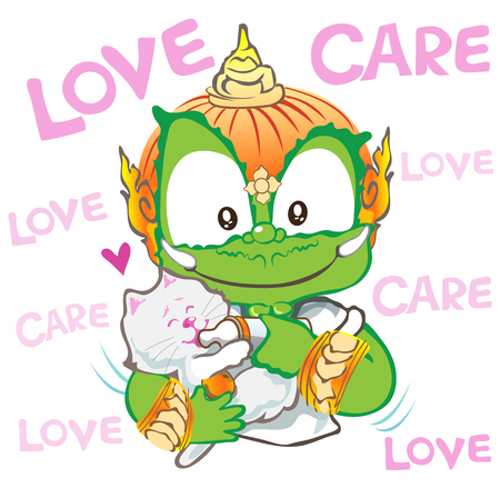 Feedding milk to cat or kitten he care and love be happy with friendship, his hand has orange, Thai giant vector cartoon character design cute acting art illustration look like and the same mother has clipping paths.