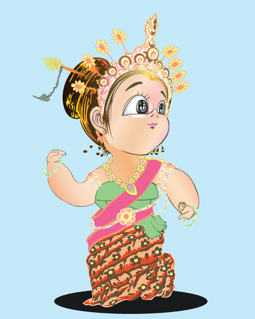 Thai girl dancing central or Srivichai dance acting cute cartoon character and costume design pencil drawing black and white art illustration has clipping paths.