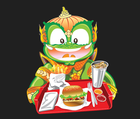 Thai Giant sale and served burger and drink character acting cute vector illustration cartoon design isolate and has a clipping paths. Illustration