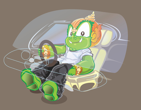 Thai giant driver action and smiling to selfie in car cartoon acting cute, Illustration vector character design isolate has clipping paths.