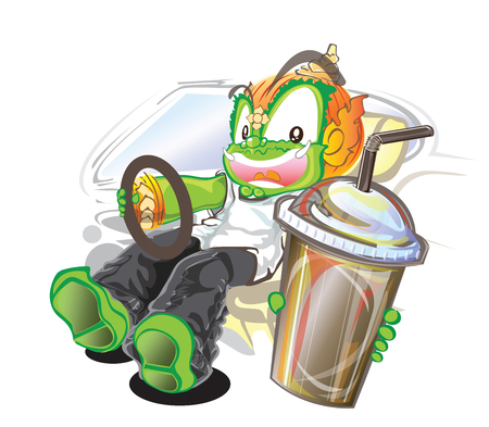 Thai giant vector cartoon driving and pick up the water to you acting character design.