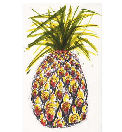 Pineapple magic color painting the pattern of fruit is Thai applied art design isoalte on white has clipping paths. Stock fotó