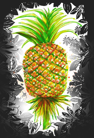 Pineapple water color painting the pattern of fruit is Thai applied art and background flower graphic design. Stock fotó
