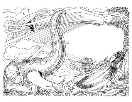 Imagination of wildlife has elephant bird squirrel butterfly and flora landscape has flower and tree, Art illustration contemporary hand drawn pencil stroke black and white design. Stock fotó
