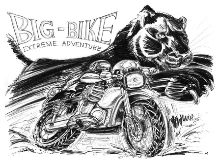 Biker riding big bike and black tiger or panther running very fast to chaotically is background, Acting pencil stroke and extreme adventure word drawing speedy concept design has paper texture 200 Gsm. Stock Photo