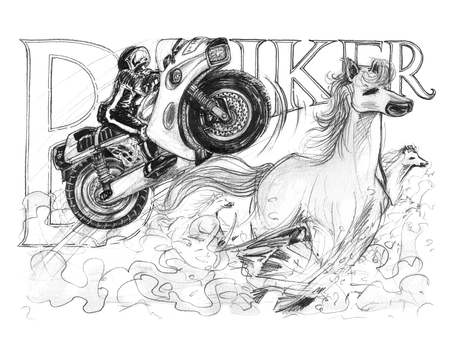 Big Bike ski jump with horse running very fast to chaotically has dust, Acting pencil stroke and Biker word drawing concept design has paper texture 200 Gsm.