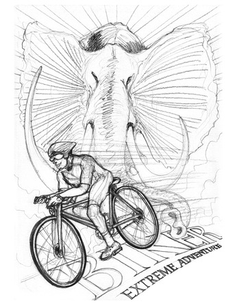 Biker driving bicycle with Africa elephant pencil stroke hand drawing design art illustration black and white. Stock Photo