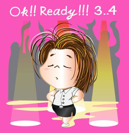 Cheerleader step 1 ready to dance cartoon acting cute character design Thai university illustration vector with jpeg file has clipping paths. Stock Photo