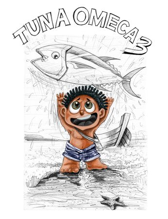 Little tribe boy character design of barbarian, He very happy to catch the big tuna fish, Then throwing it up for fun, landscape of the sea beach and boat pencil drawing and paint brush only children, fisherman life concept, has clipping paths at guy.