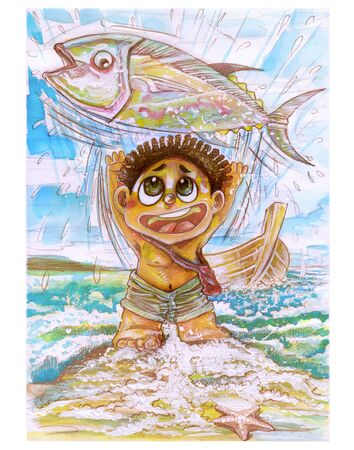 Little tribe boy character design of barbarian, He very happy to catch the big tuna fish, Then throwing it up for fun on the sea beach with boat pencil drawing and vintage water color paint .