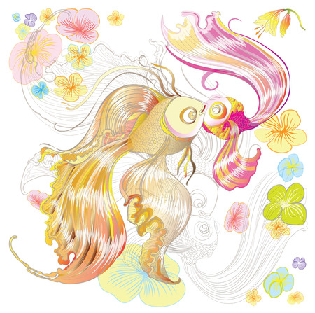 Illustration of two gold and pink fish with a floral background