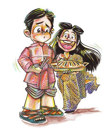 Thai Ayuthaya costume man and woman comic cartoon joke character acting with BBQ pan. That times no had, Image has clipping paths.