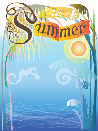 Background Frame summer in the sea landscape of nature has sunset, Contemporary art illustration vector design has free space, Pastel color. Illusztráció