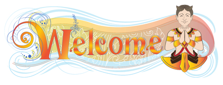Welcome banner or shop sign has Asian hello acting symbol meaning is sawasdee, The fusion art of Thai and Europe classic style design unique and difference, Isolate on white has clipping paths. Illustration
