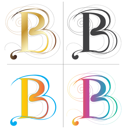 B alphabet font vector design 4 color Europe style isolate on white has clipping paths.