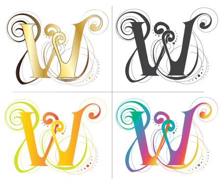 Letter W font vector design 일러스트