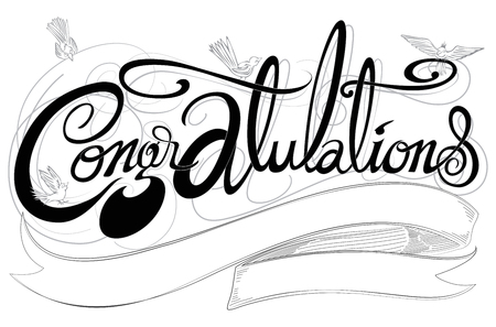 Congratulations classic font  black, gray and white color has 4 birds art illustration cerebration greeting card or sign design and ribbon for your word with name or logo has clipping paths.  イラスト・ベクター素材
