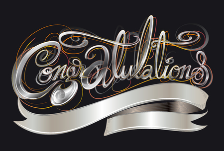 Congratulations classic font silver color art illustration cerebration greeting card or sign design and ribbon for your word with name or logo has clipping paths. Illusztráció
