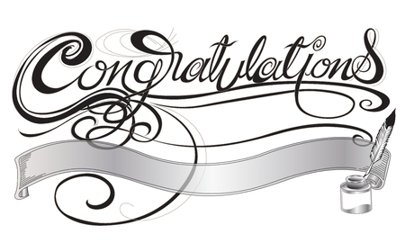 Congratulations with quill pen and ink sign or card design art illustration gray scale color has clipping paths.