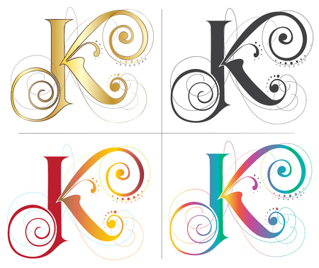 Letter K alphabet English font design 4 style of color and isolate on white has clipping path. Ilustrace