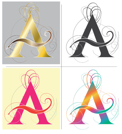 Letter A alphabet font design art illustration 4 color and isolate on white has clipping path.
