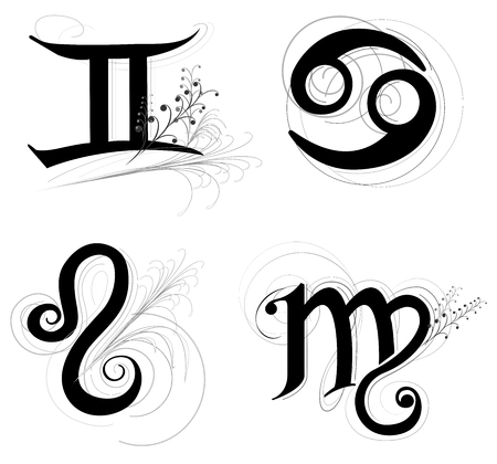 Letter Horoscope, zodiac or Astrology symbol are Libra Scorpio Sagittarius and Capricorn  black and white color art illustration classic, vintage design has clipping path.