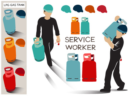 Service worker of LPG Gas for food, Info graphic cartoon acting character design has clipping path, Tanks has turquoise, blue, orange, red 4 color.