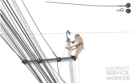 Electricity pole worker cartoon infographic, isolate on white background has word the letter font design and clipping path.