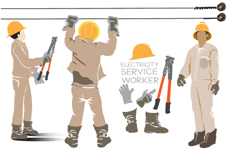 Electricity pole worker team acting and hardware cartoon infographic design, isolate on white background. Illusztráció