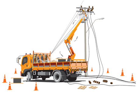 Electricity poles high voltage worker team with lift truck infographic cartoon, Isolate on white background has clipping path.