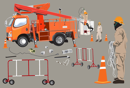 Lift truck and Electricity poles high voltage worker team infographic cartoon and tools are funnel, traffic barrier, light , Isolate on warm gray colors.