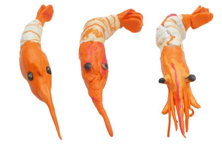 Molde la comida de mar de camarones de arcilla o Shu shi y Dim sum crean arte 3 estilo aislante en blanco, enfoque de foto macro seleccione en la cabeza vea el detalle, tiene trazado de recorte. Foto de archivo