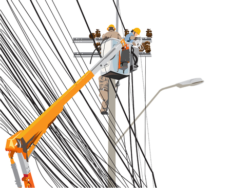 Electricity poles high voltage worker team with lift truck info graphic cartoon, Isolate on white background has clipping path.