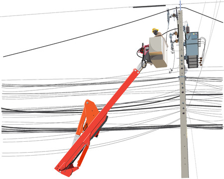 Maintenance service of electricity poles high voltage worker alone with lift truck info graphic cartoon, Isolate on white background has clipping path.