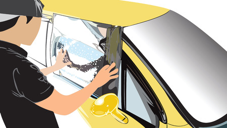 Step 5 Prepare a measure to wrap film car by worker service industries acting, He changing the new one ater shampoo and bubbles to keep a film firmly in window glass has a clipping path.