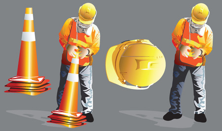 Worker construction service industrial is to keeping clearing of the funnel traffic on the street, Cartoon vector character art illustration, Isolate on gray color has clipping path. Ilustração
