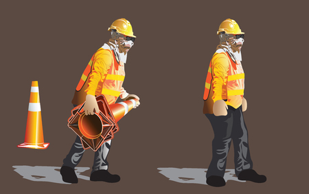 Worker construction service indrustrial acting to keeping the funnel traffic, Cartoon vector character art illustration, isolate has clipping path.