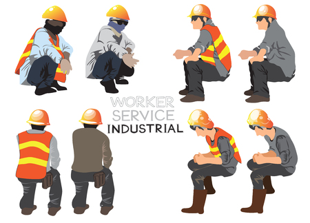 Worker service industrial construction cartoon vector character acting sitting design art illustration, Isolate on white has clipping path. Иллюстрация