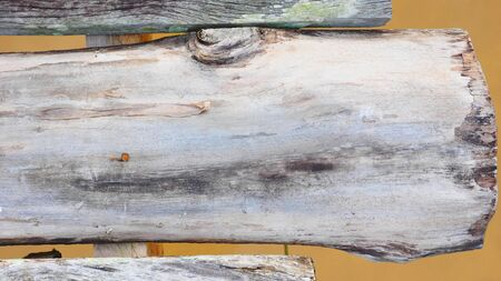 Background texture of wooden bridge across the river, Photo close up see the detail.