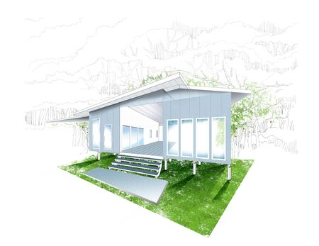 One story raised house has activity terrace outdoor perspective design, background tree hand drawn.